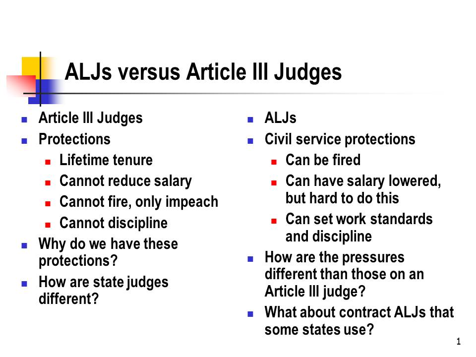 ALJs v. Article III Judges