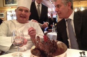 Anthony Bourdain sits down with Chef Paul Bocuse to film his show Parts Unknown