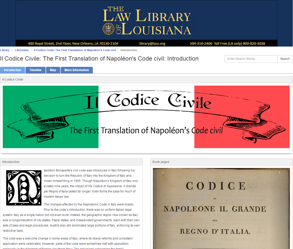 Translator Italian: Il Codice Civile, The First Translation Of The French