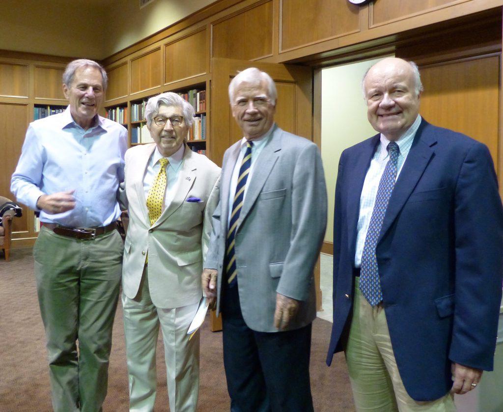Robert Sloan, Prof. Paul Baier, Prof. Alain Levasseur, and Dean Tom Galligan welcoming the LLMs