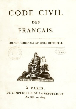 Cover page French Civil Code 1804 original edition