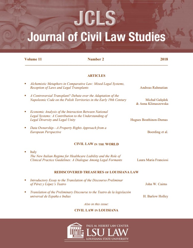 Image of the Cover of JCLS Volume 11 no. 2 with table of contents