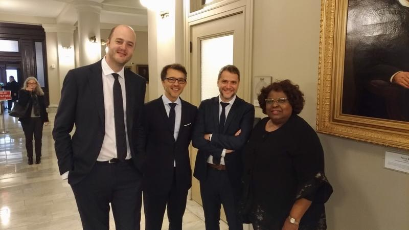 Prof. Haftel, Mekki, and Roda with Chief Justice Bernette Johnson at the Louisiana Supreme Court