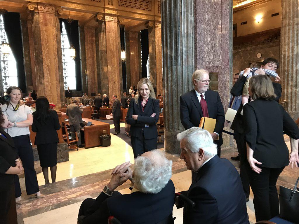 Professor Pugh facing the Senate Chamber