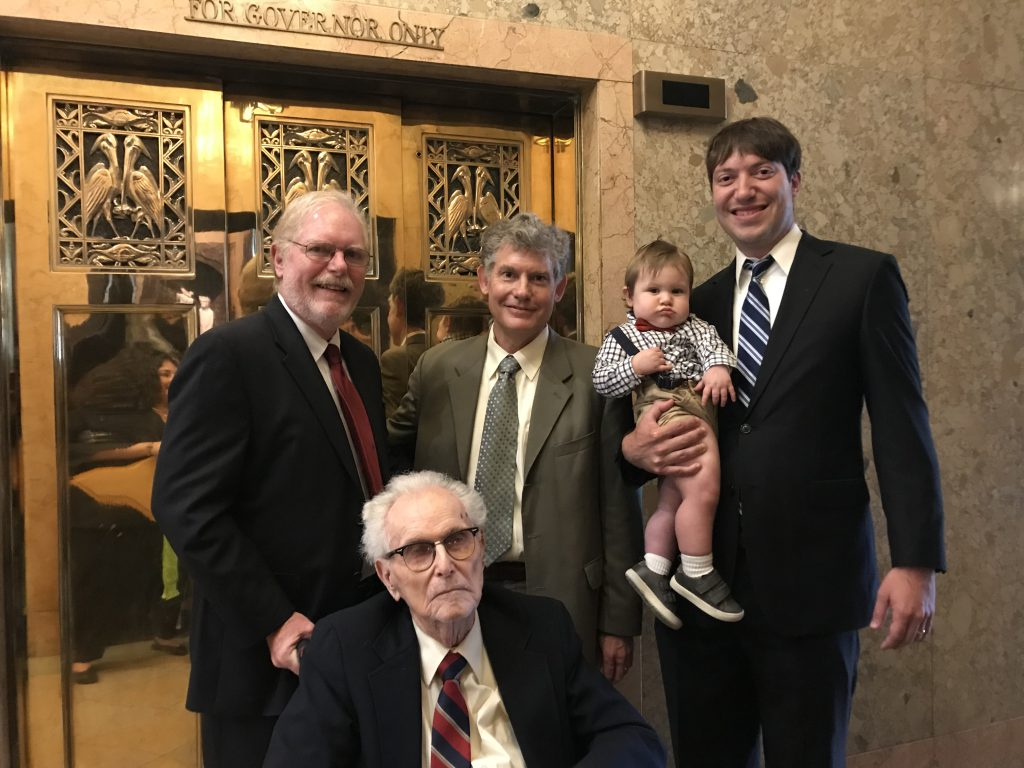 Professor Pugh and family at the Louisiana Capitol Building