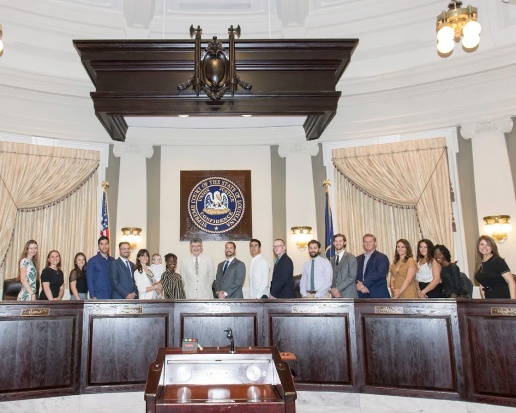LLM and JD students with Prof. Moreteau in the Louisiana Supreme Court Courtroom