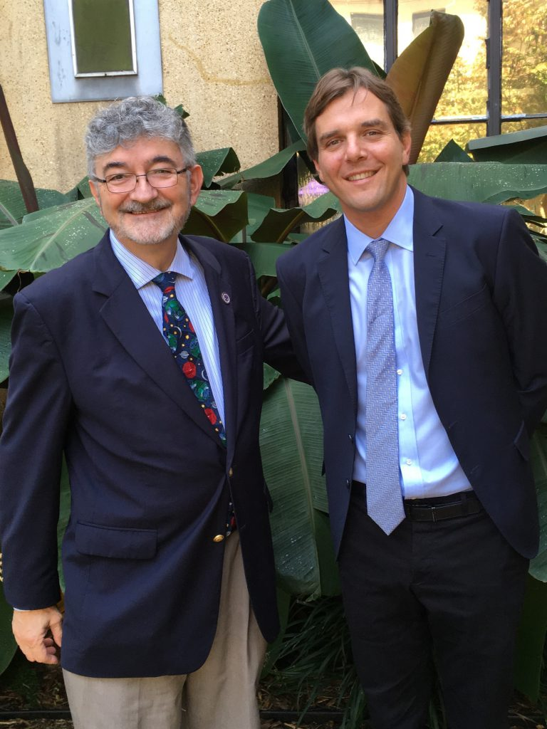 Photo of Professor Olivier Moreteau and Professor David Bosco in front of the Faculty Club at LSU