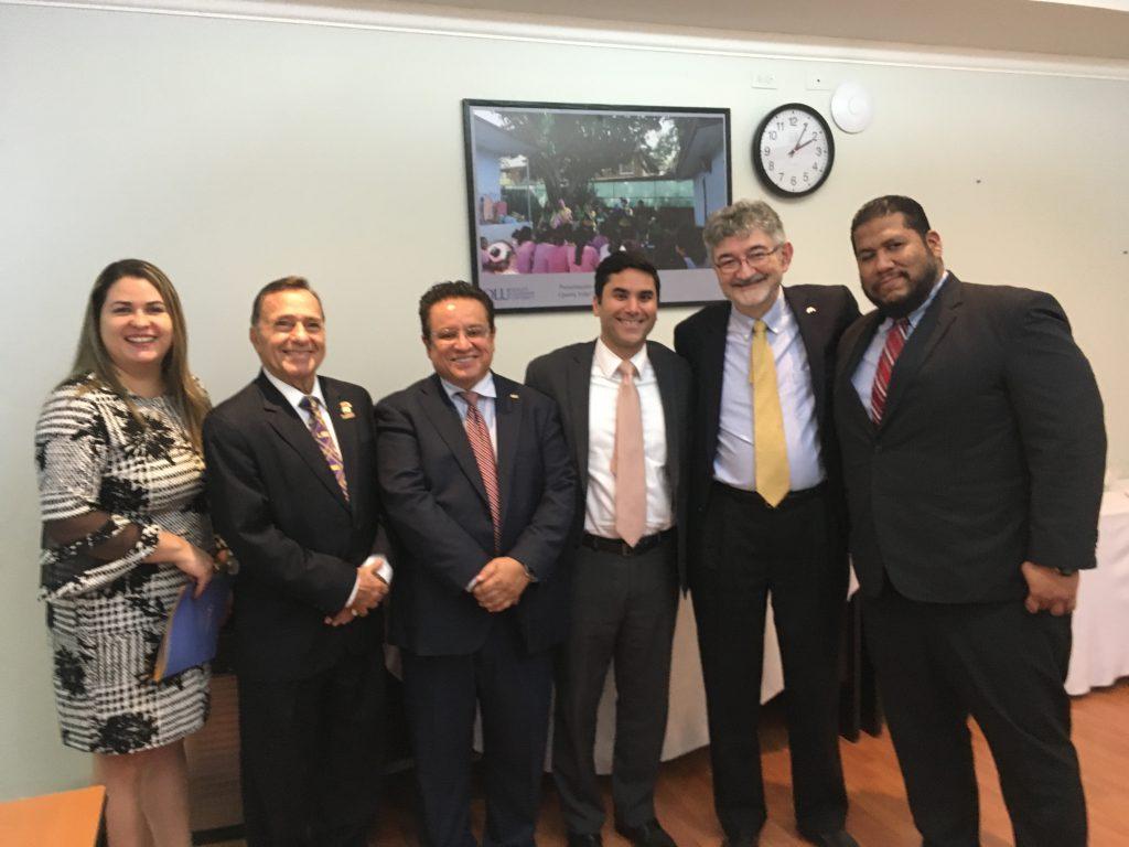 Left to right, Dean Marcela Reyes, Ambassador Mario Jaramillo, Rector Oscar Leon, Diego Anguizola, Olivier Moréteau, and Gustavo Gordon
