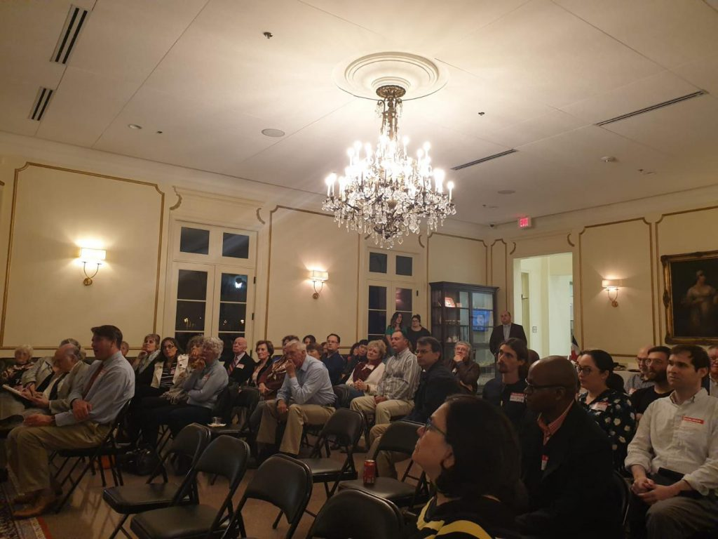 Crowd of attendees at the LSU French House