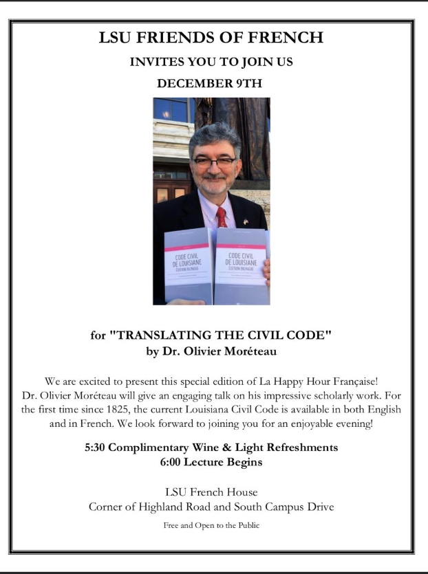 Poster announcing Dr. Moreteau's presentation on the translation of the Civil Code