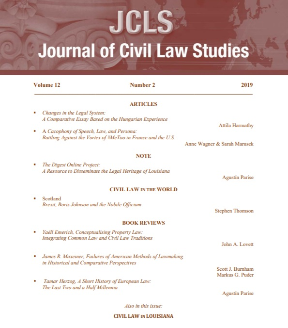 Journal of Civil Law Studies, cover of volume 12 number 2
