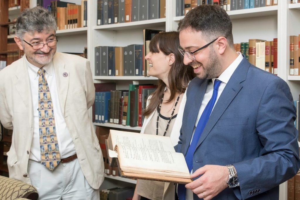 Mariano Vitetta with his wife Natalia, also a lawyer, and Prof. Olivier Moréteau in the rare book room at the Louisiana Law Library, New Orleans