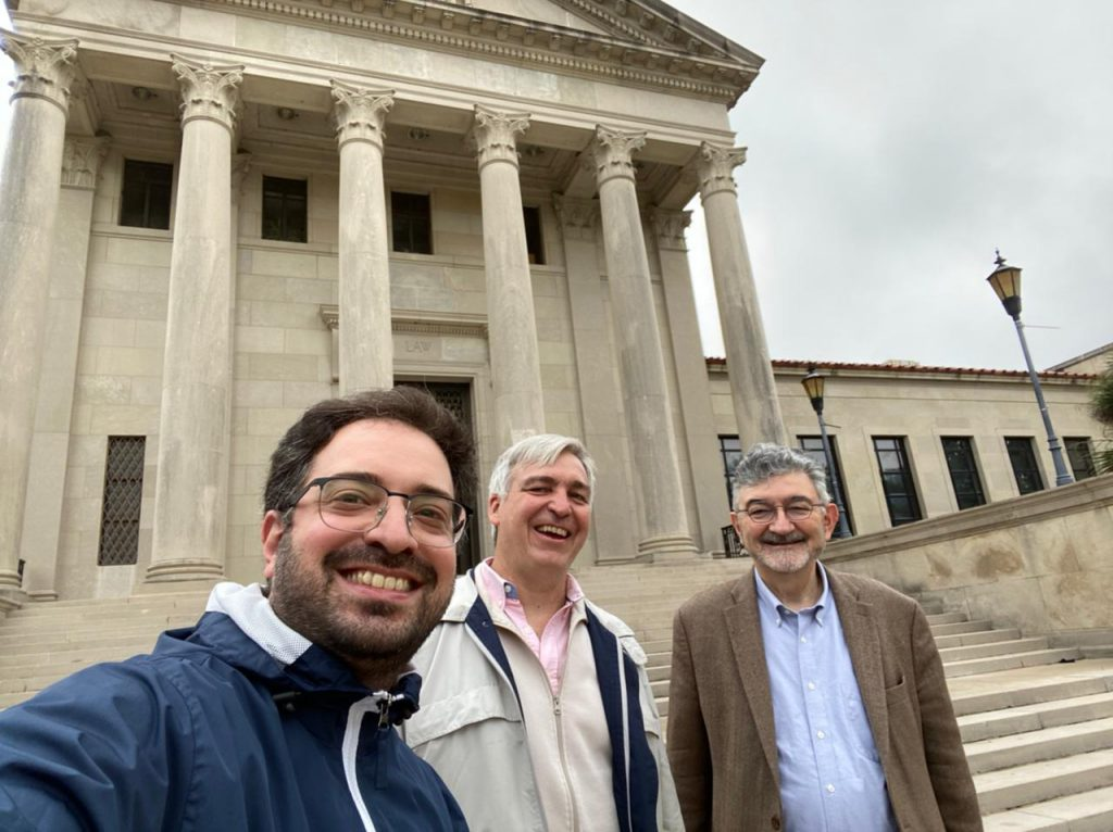 Mariano Vitetta, Prof. Alfonso Santiago and Prof. Olivier Moreteau in front of the Law Center
