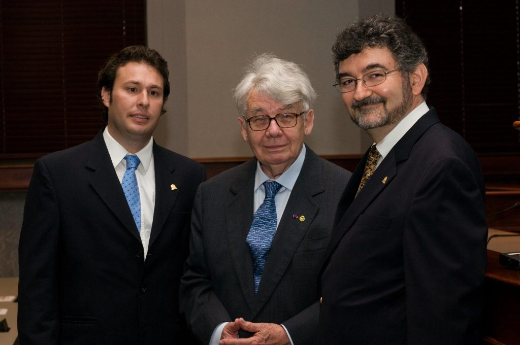 Photo of Professors Agustin Parise, Jacques Vanderlinden, and Olivier Moreteau, taken at LSU after the Tucker Lecture in 2008.